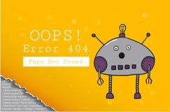 σφάλμα 404 βρήκε όχι τη σελίδα Πρότυπο σχεδίου με το κείμενο και το ρομπότ Απεικόνιση για έναν ιστοχώρο Ουπς το πρόβλημα της σύνδ απεικόνιση αποθεμάτων