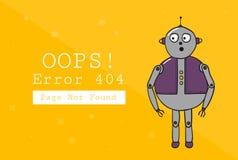 σφάλμα 404 βρήκε όχι τη σελίδα Πρότυπο σχεδίου με το κείμενο και το ρομπότ Απεικόνιση για έναν ιστοχώρο Ουπς το πρόβλημα της σύνδ ελεύθερη απεικόνιση δικαιώματος