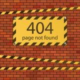 σφάλμα 404 βρήκε όχι τη σελίδα Σημάδι κινδύνου στο τουβλότοιχο απεικόνιση αποθεμάτων
