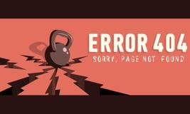 σφάλμα 404 Θλιβερός, σελίδα που δεν βρίσκεται Πτώσεις κατσαρολών κουδουνιών Στοκ Εικόνες