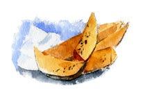Σφήνες πατατών με τα καρυκεύματα και την άσπρη σάλτσα συρμένος εικονογράφος απεικόνισης χεριών ξυλάνθρακα βουρτσών ο σχέδιο όπως  Στοκ Εικόνες