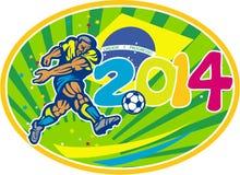 Σφαίρα λακτίσματος ποδοσφαιριστών ποδοσφαίρου της Βραζιλίας 2014 Στοκ Εικόνα
