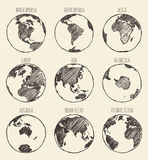 Σφαίρα Αμερική Αφρική Ευρώπη Ασία Αυστραλία σκίτσων Στοκ Εικόνα