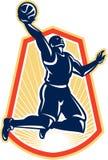 Σφαίρα αναπήδησης Dunk παίχτης μπάσκετ αναδρομική ελεύθερη απεικόνιση δικαιώματος