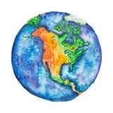 σφαίρα Βόρεια Αμερική στο πλανήτη Γη hand-drawn με την τεχνική watercolor που απομονώνεται στο άσπρο υπόβαθρο Στοκ Φωτογραφία