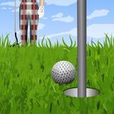 Σφαίρα γκολφ και μια τρύπα ελεύθερη απεικόνιση δικαιώματος