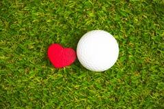 Σφαίρα γκολφ και putter στην πράσινη σειρά μαθημάτων Στοκ Εικόνα