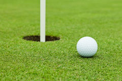 Σφαίρα γκολφ σε πράσινο Στοκ εικόνα με δικαίωμα ελεύθερης χρήσης