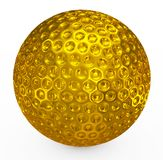 Σφαίρα γκολφ χρυσή Στοκ Εικόνα
