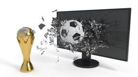 Σφαίρα γυαλιού και ποδοσφαίρου σπασίματος και Παγκόσμιο Κύπελλο του υποβάθρου, τρισδιάστατη απόδοση ελεύθερη απεικόνιση δικαιώματος