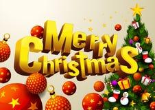 Σφαίρα διακοσμήσεων Χαρούμενα Χριστούγεννας απεικόνιση αποθεμάτων