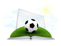 Σφαίρα και πύλη ποδοσφαίρου σε ένα ανοικτό άσπρο βιβλίο Στοκ φωτογραφίες με δικαίωμα ελεύθερης χρήσης