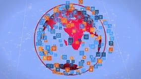 Σφαίρα και ψηφιακά εικονίδια apps ελεύθερη απεικόνιση δικαιώματος