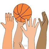 Σφαίρα καλαθιών επίθεσης τεσσάρων αρσενική χεριών Παιχνίδι, κράτημα, ρίψη Συρμένο χέρι χρωματισμένο σκίτσο η ανασκόπηση απομόνωσε απεικόνιση αποθεμάτων