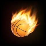Σφαίρα καλαθοσφαίρισης στην τρισδιάστατη μίμηση πυρκαγιάς Βολίδα κατά την πτήση ελεύθερη απεικόνιση δικαιώματος