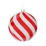 Σφαίρα κόκκινος-λευκού Χριστουγέννων Απεικόνιση αποθεμάτων
