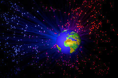 Σφαίρα με ένα κοσμικό φως υποβάθρου Ελεύθερη απεικόνιση δικαιώματος