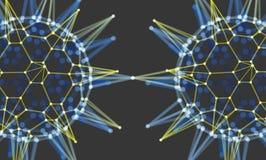 Σφαίρα με τις συνδεδεμένα γραμμές και τα σημεία Πλέγμα πυράκτωσης Δομή σύνδεσης Στοκ Φωτογραφία
