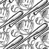 Σφαίρα μπέιζ-μπώλ σκίτσων, ρόπαλο και γάντι, άνευ ραφής σχέδιο διανυσματική απεικόνιση