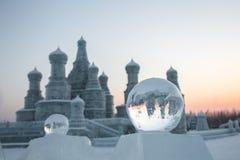 Σφαίρα πάγου του Χάρμπιν, Κίνα 01/21/2016 μπροστά από το ρωσικό πάγο π ύφους Στοκ εικόνα με δικαίωμα ελεύθερης χρήσης