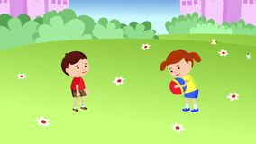 Σφαίρα παιχνιδιού αγοριών και κοριτσιών διανυσματική απεικόνιση