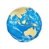 Σφαίρα πλανήτη Γη που απομονώνεται στο άσπρο υπόβαθρο Χρυσές μεταλλικές ήπειροι και μπλε ωκεανός Εορτασμός γήινης ημέρας διανυσματική απεικόνιση