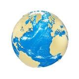 Σφαίρα πλανήτη Γη που απομονώνεται στο άσπρο υπόβαθρο Χρυσές μεταλλικές ήπειροι και μπλε ωκεανός Εορτασμός γήινης ημέρας απεικόνιση αποθεμάτων