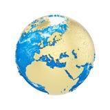 Σφαίρα πλανήτη Γη που απομονώνεται στο άσπρο υπόβαθρο Χρυσές μεταλλικές ήπειροι και μπλε ωκεανός Εορτασμός γήινης ημέρας ελεύθερη απεικόνιση δικαιώματος