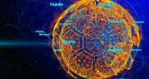 Σφαίρα ποδοσφαίρου και ήπειροι του πλανήτη Γη που περιστρέφεται σε ένα υπόβαθρο κλίσης, που αποτελούνται από τις γραμμές και τα μ απεικόνιση αποθεμάτων