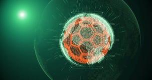Σφαίρα ποδοσφαίρου και ήπειροι του πλανήτη Γη που περιστρέφεται σε ένα υπόβαθρο κλίσης, που αποτελείται από τις γραμμές και τα μό διανυσματική απεικόνιση
