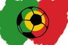 Σφαίρα ποδοσφαίρου και συρμένη χέρι απλή απεικόνιση σημαιών της Πορτογαλίας, Στοκ φωτογραφίες με δικαίωμα ελεύθερης χρήσης