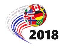 Σφαίρα ποδοσφαίρου με τις σημαίες των διαφορετικών χωρών στην κίνηση Στοκ Εικόνα