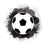 Σφαίρα ποδοσφαίρου με τους μαύρους λεκέδες μελανιού και τους παφλασμούς watercolor Αθλητικός εξοπλισμός διανυσματική απεικόνιση