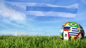 Σφαίρα ποδοσφαίρου ομάδων της Ουρουγουάης για την αθλητική εκδήλωση της Ρωσίας στοκ φωτογραφία