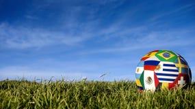 Σφαίρα ποδοσφαίρου ομάδων της Ουρουγουάης για την αθλητική εκδήλωση της Ρωσίας στοκ εικόνα