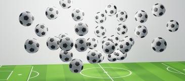 Σφαίρα ποδοσφαίρου στην τρισδιάστατος-απεικόνιση γηπέδων ποδοσφαίρου διανυσματική απεικόνιση