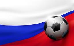 Σφαίρα ποδοσφαίρου στο ρωσικό υπόβαθρο σημαιών Στοκ Εικόνες