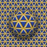 Σφαίρα που κυλά κατά μήκος της επιφάνειας τριγώνων Αφηρημένη διανυσματική οπτική απεικόνιση παραίσθησης Στοκ φωτογραφία με δικαίωμα ελεύθερης χρήσης