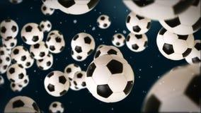 Σφαίρα ποδοσφαίρου ενάντια στο σκούρο μπλε, μήκος σε πόδηα αποθεμάτων απεικόνιση αποθεμάτων