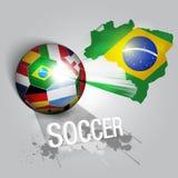 Σφαίρα ποδοσφαίρου με τις παγκόσμιες σημαίες Στοκ Εικόνα