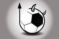 Σφαίρα ποδοσφαίρου με το κέρατο και την ουρά του διαβόλου επίσης corel σύρετε το διάνυσμα απεικόνισης Στοκ φωτογραφίες με δικαίωμα ελεύθερης χρήσης