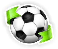 Σφαίρα ποδοσφαίρου (ποδόσφαιρο) με την κορδέλλα Στοκ Φωτογραφίες