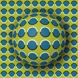 Σφαίρα σημείων Πόλκα που κυλά κατά μήκος της επιφάνειας σημείων Πόλκα Αφηρημένη διανυσματική οπτική απεικόνιση παραίσθησης Στοκ Εικόνες