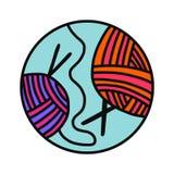 Σφαίρα του συρμένου χέρι λογότυπου μαλλιού νημάτων logotype για προγράμματος σειρών μαθημάτων η κύρια κατηγοριών διδασκαλία μελέτ ελεύθερη απεικόνιση δικαιώματος