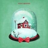 Σφαίρα χιονιού με το σπίτι Χριστουγέννων διανυσματική απεικόνιση