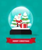 Σφαίρα χιονιού Χαρούμενα Χριστούγεννας με Άγιο Βασίλη, χιονοπτώσεις δώρων snowglobe ελεύθερη απεικόνιση δικαιώματος
