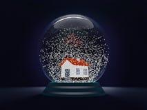 Σφαίρα Χριστουγέννων - ένα σύμβολο των Χριστουγέννων προσέγγισης και του νέου έτους Μια διαφανής σφαίρα με ένα σπίτι εσωτερικό κα απεικόνιση αποθεμάτων