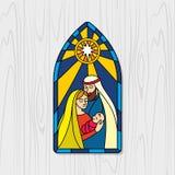 Σφαίρα Χριστουγέννων αρχαίο σύνολο σκηνής nativity ειδωλίων Χριστούγεννα Mary, Joseph και ο μικρός Ιησούς ελεύθερη απεικόνιση δικαιώματος