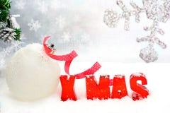 Σφαίρα Χριστουγέννων, κόκκινα Χριστούγεννα Στοκ Εικόνες