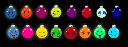 Σφαίρα Χριστουγέννων με τα smileys και τα μάτια ελεύθερη απεικόνιση δικαιώματος